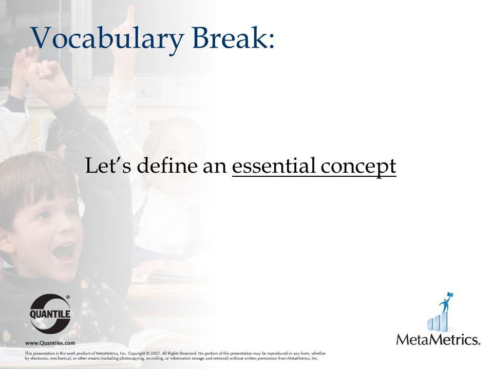 Vocabulary Break: Let's define an essential concept
