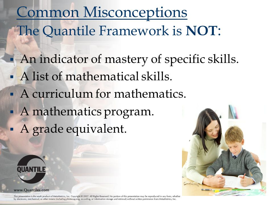  An indicator of mastery of specific skills. A list of mathematical skills.