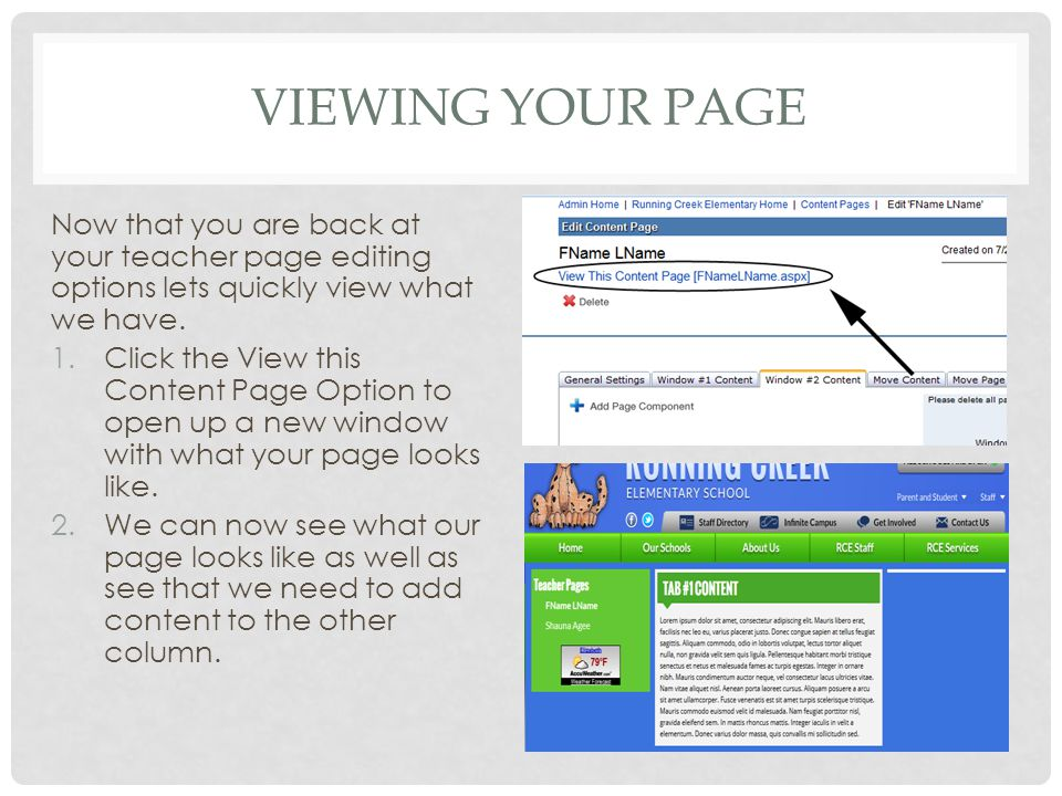 VIEWING YOUR PAGE Now that you are back at your teacher page editing options lets quickly view what we have.
