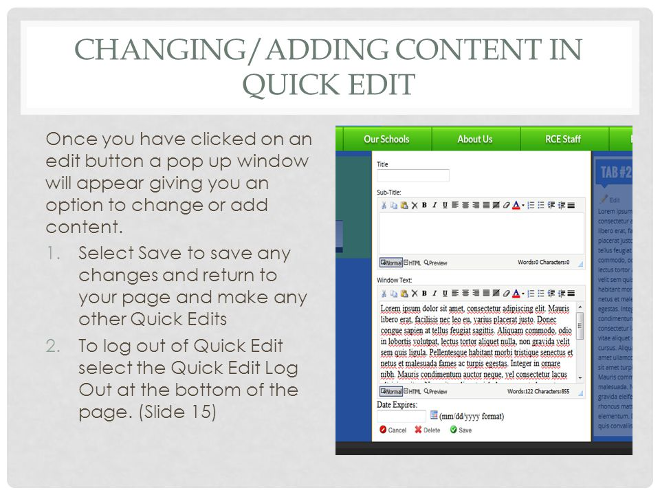 CHANGING/ADDING CONTENT IN QUICK EDIT Once you have clicked on an edit button a pop up window will appear giving you an option to change or add content.