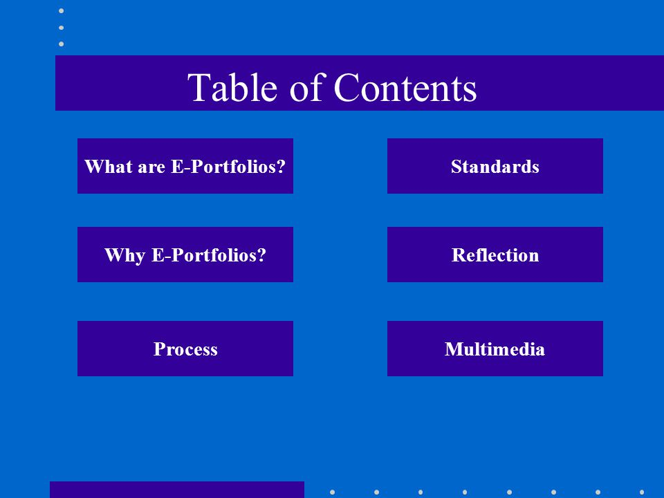Table of Contents What are E-Portfolios? Why E-Portfolios? ProcessMultimedia Reflection Standards