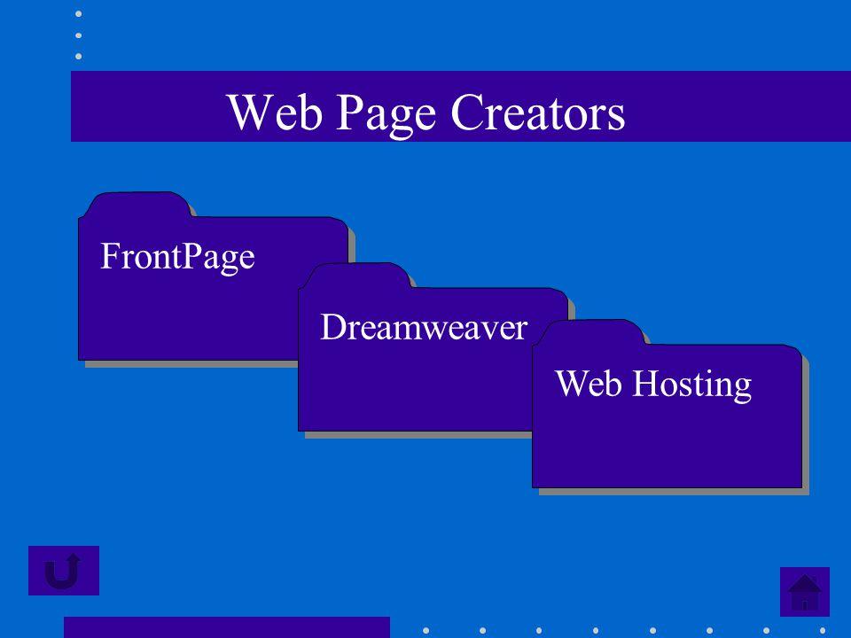 Web Page Creators FrontPage Dreamweaver Web Hosting