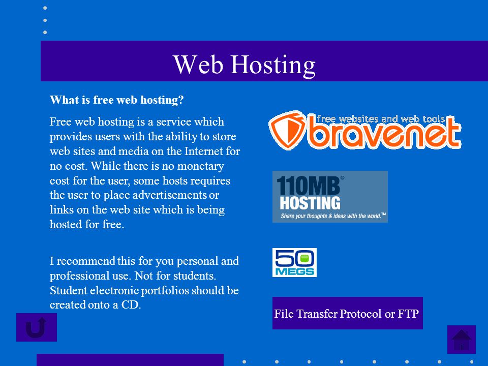 Web Hosting What is free web hosting? Free web hosting is a service which provides users with the ability to store web sites and media on the Internet