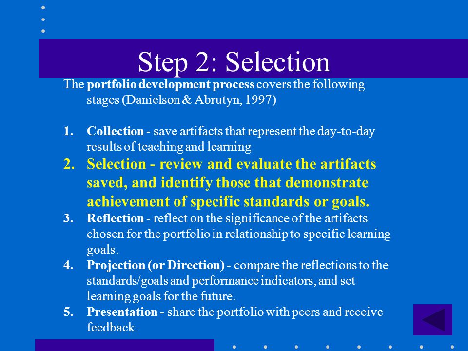 Step 2: Selection The portfolio development process covers the following stages (Danielson & Abrutyn, 1997) 1.Collection - save artifacts that represe
