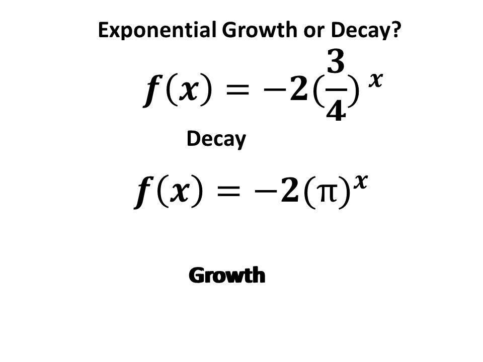 Exponential Growth or Decay Growth Decay Growth