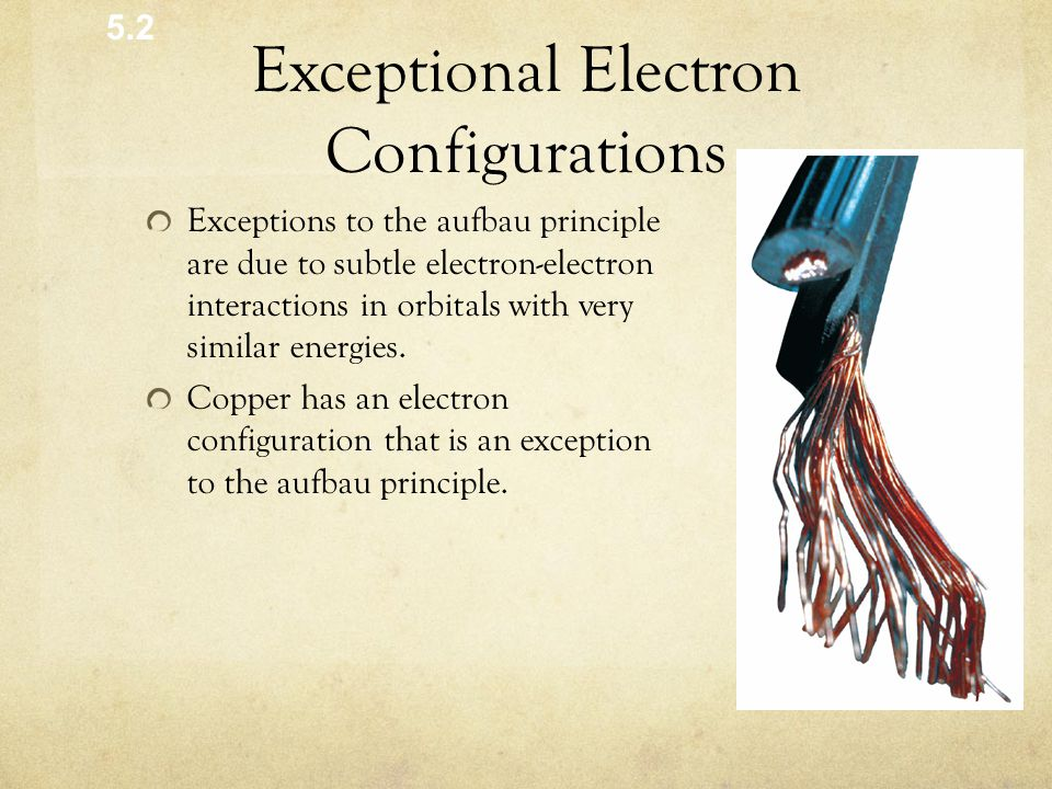 Exceptional Electron Configurations Exceptions to the aufbau principle are due to subtle electron-electron interactions in orbitals with very similar energies.