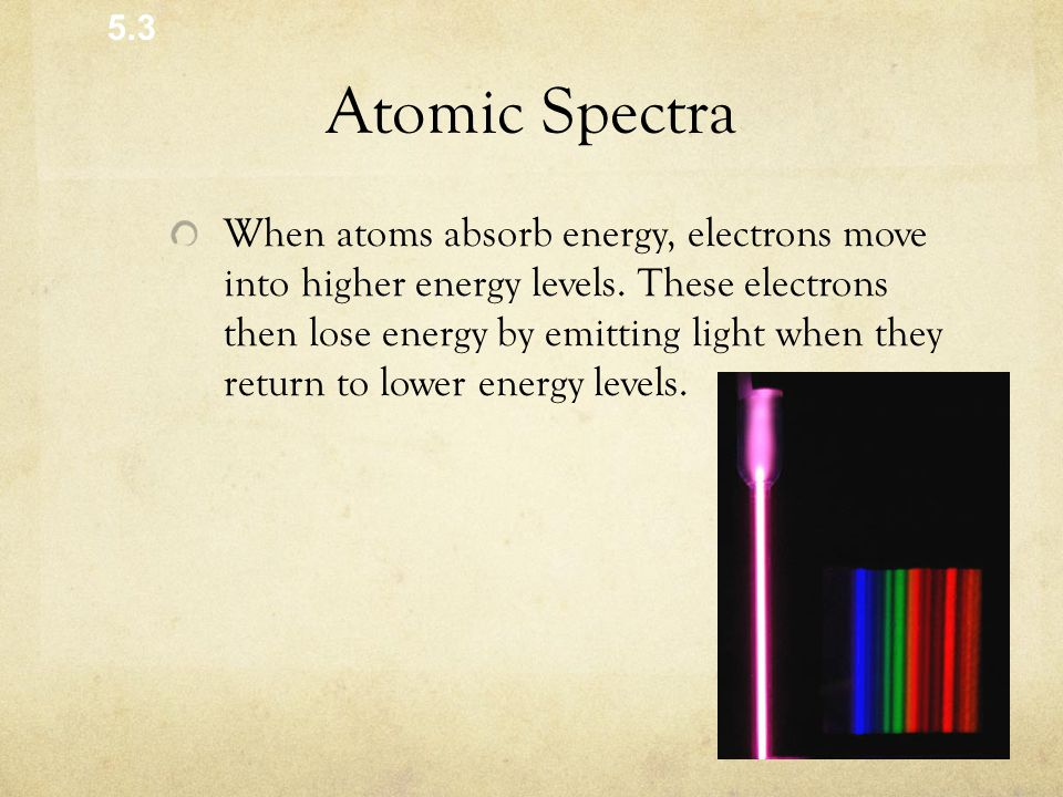 Atomic Spectra When atoms absorb energy, electrons move into higher energy levels.