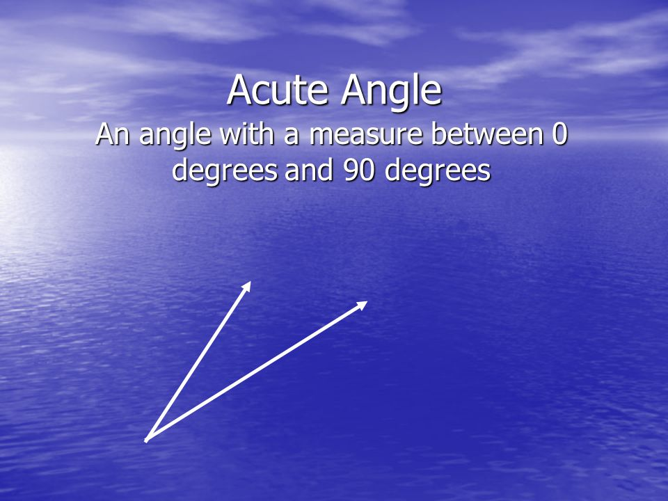 Acute Angle An angle with a measure between 0 degrees and 90 degrees