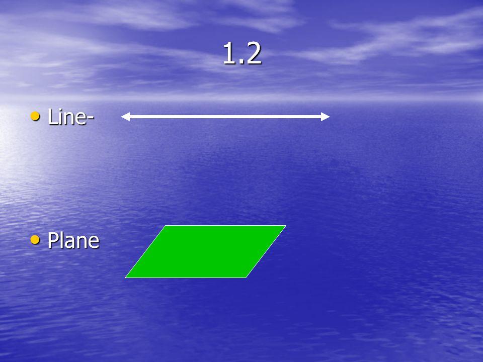 1.2 Line Segment Line Segment Ray Initial Point Ray Initial Point Opposite rays Opposite rays