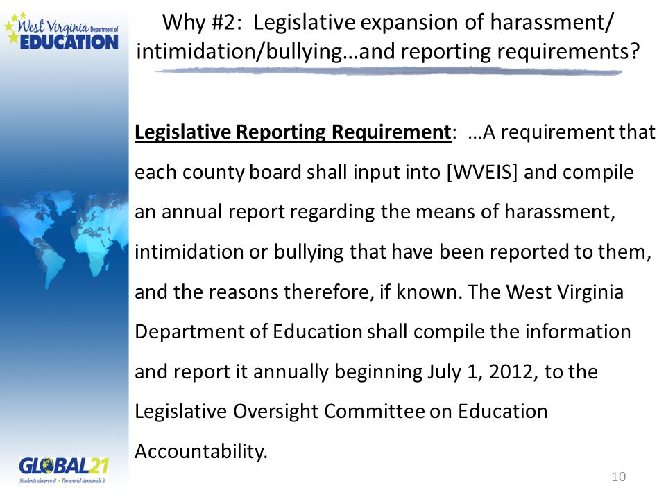 Why #2: Legislative expansion of harassment/ intimidation/bullying…and reporting requirements? Legislative Reporting Requirement: …A requirement that