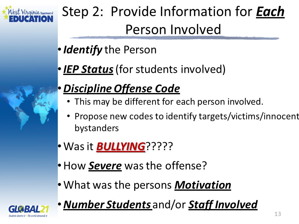 Step 2: Provide Information for Each Person Involved Identify the Person IEP Status (for students involved) Discipline Offense Code This may be differ