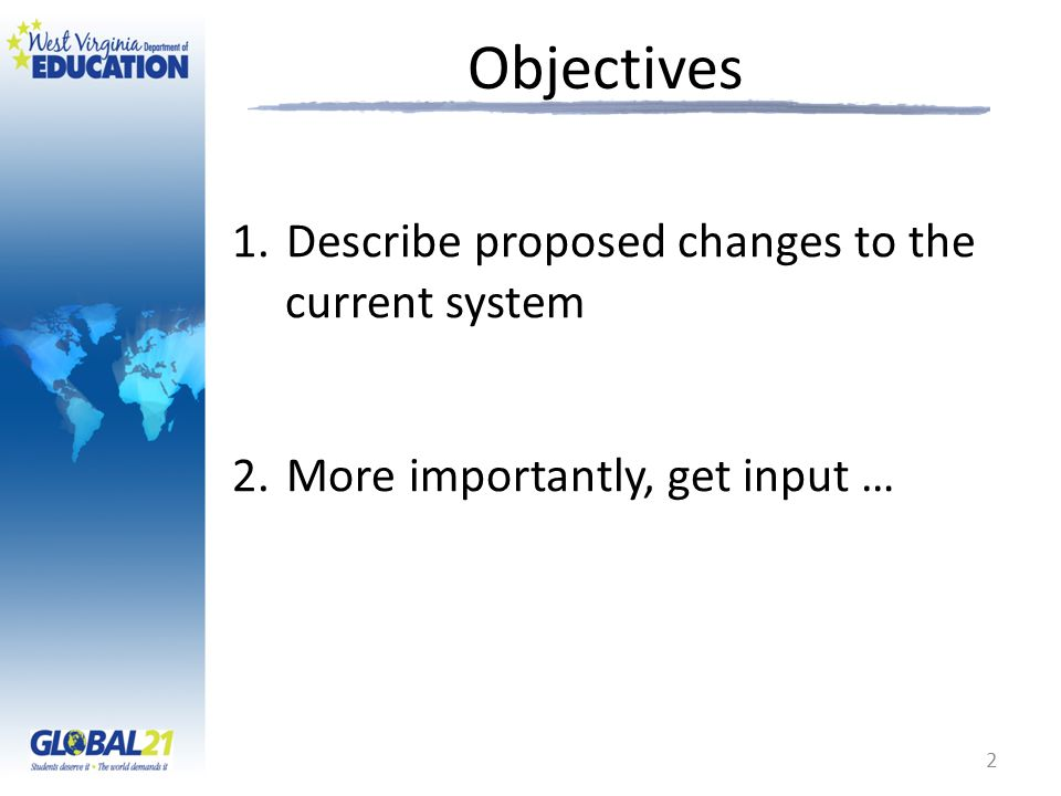 Objectives 1.Describe proposed changes to the current system 2.More importantly, get input … 2