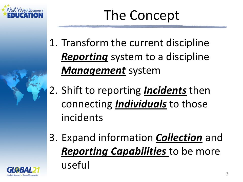 The Concept 1.Transform the current discipline Reporting system to a discipline Management system 2.Shift to reporting Incidents then connecting Indiv