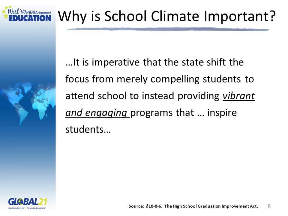 Why is School Climate Important? …It is imperative that the state shift the focus from merely compelling students to attend school to instead providin