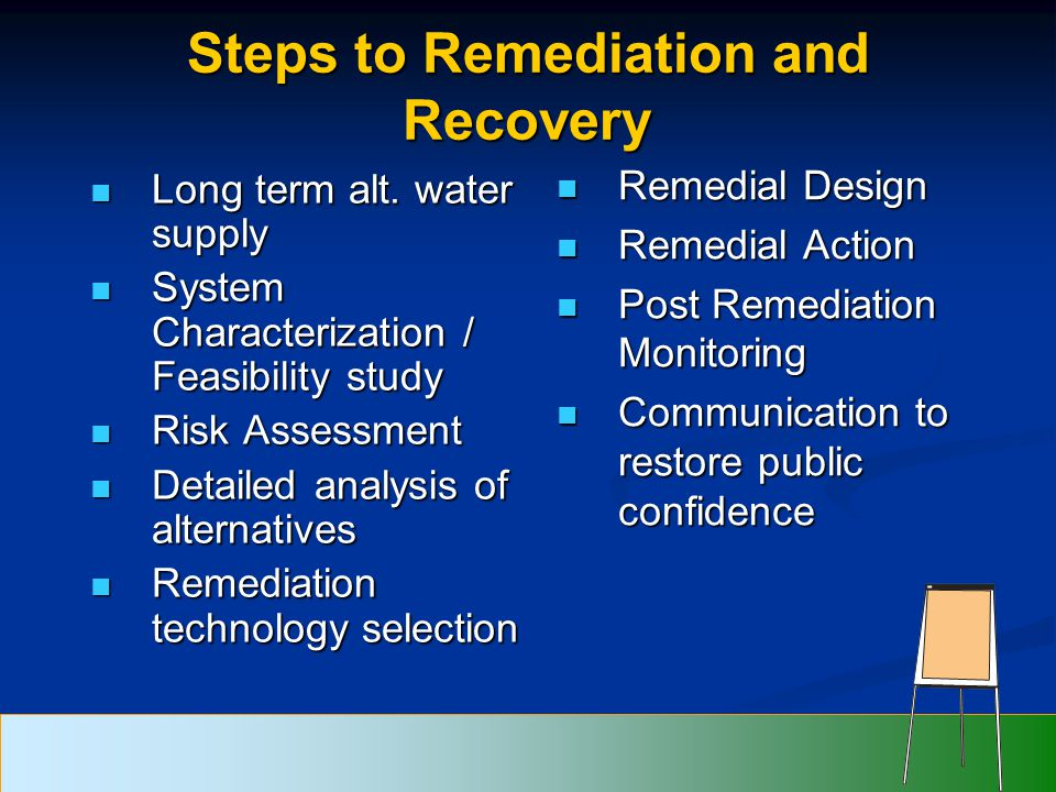 Steps to Remediation and Recovery Long term alt. water supply Long term alt.