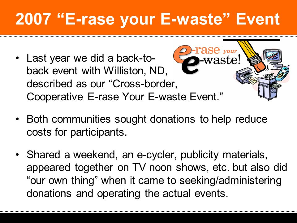 2008 South Dakota Spring Solid Waste Operators Workshop: Ideas & Strategies Last year we did a back-to- back event with Williston, ND, described as our Cross-border, Cooperative E-rase Your E-waste Event. Both communities sought donations to help reduce costs for participants.