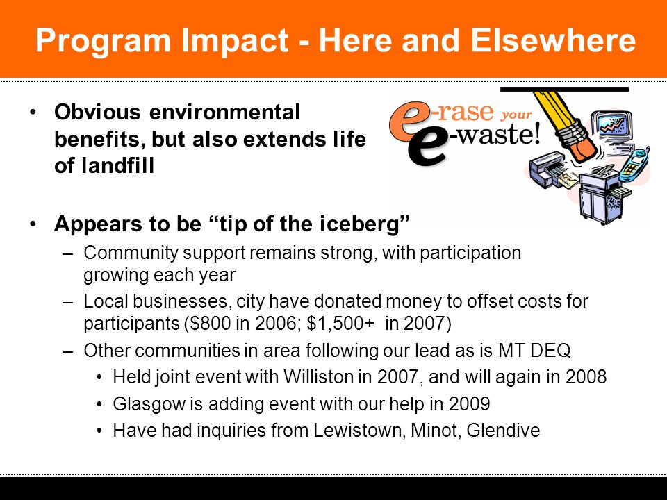 2008 South Dakota Spring Solid Waste Operators Workshop: Ideas & Strategies Obvious environmental benefits, but also extends life of landfill Appears to be tip of the iceberg –Community support remains strong, with participation growing each year –Local businesses, city have donated money to offset costs for participants ($800 in 2006; $1,500+ in 2007) –Other communities in area following our lead as is MT DEQ Held joint event with Williston in 2007, and will again in 2008 Glasgow is adding event with our help in 2009 Have had inquiries from Lewistown, Minot, Glendive Program Impact - Here and Elsewhere