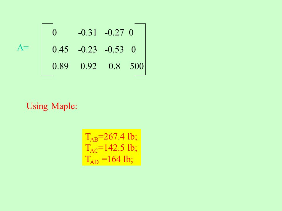 0 -0.31 -0.27 0 0.45 -0.23 -0.53 0 0.89 0.92 0.8 500 A= Using Maple: T AB =267.4 lb; T AC =142.5 lb; T AD =164 lb;