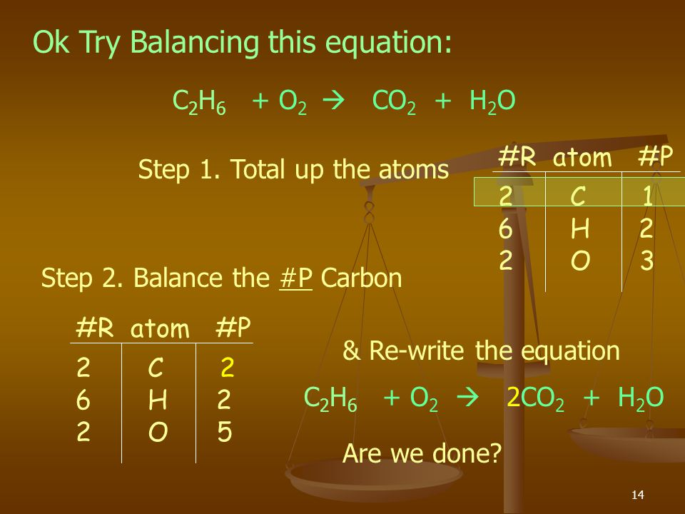 13 #R atom #P 2Na 2 2 OH 2 1 Ca 1 2 Br 2 Let's update the RAP table with the new #'s Based on our updated equation. 2NaOH + CaBr 2  Ca(OH) 2 + 2NaBr