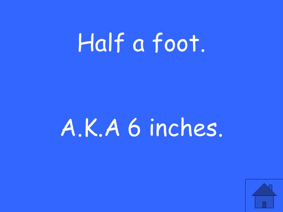 Half a foot. A.K.A 6 inches.