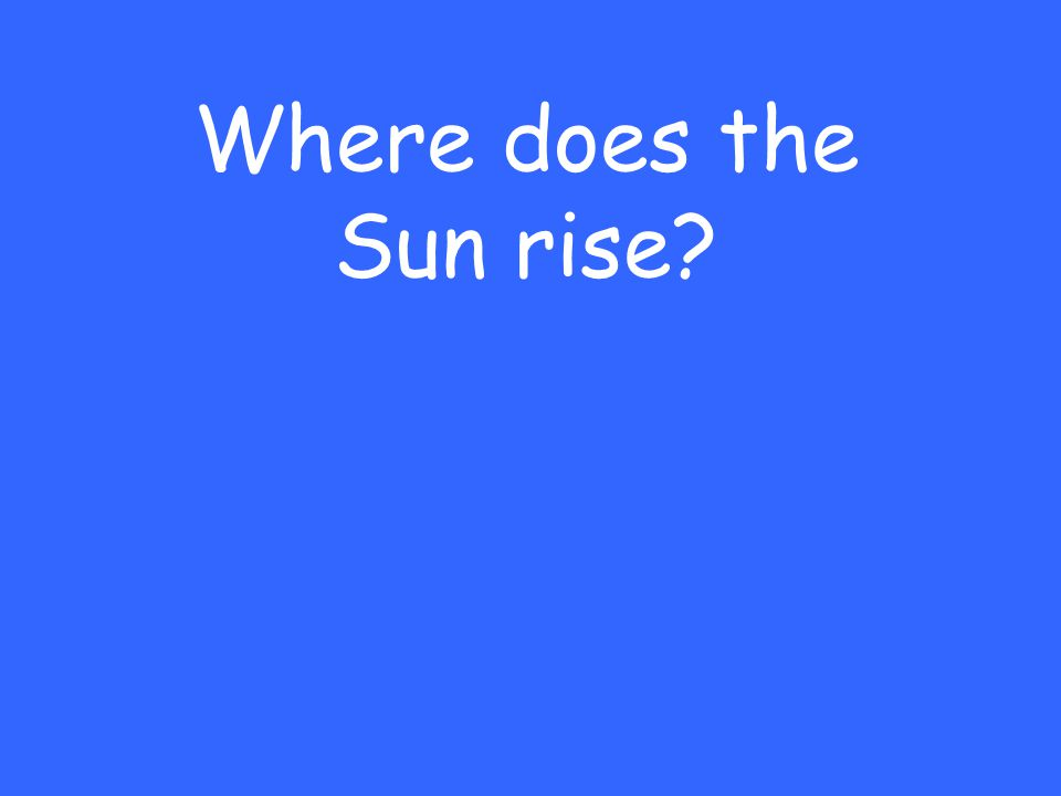 Where does the Sun rise?
