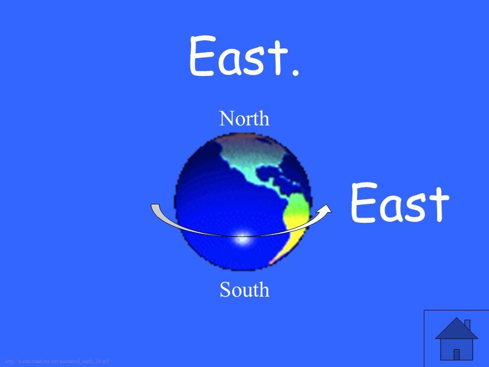 East. North South East http://netanimations.net/animated_earth_84.gif