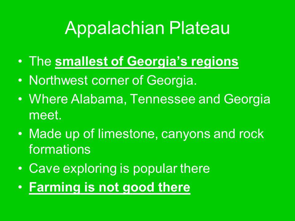 Appalachian Plateau The smallest of Georgia's regions Northwest corner of Georgia. Where Alabama, Tennessee and Georgia meet. Made up of limestone, ca