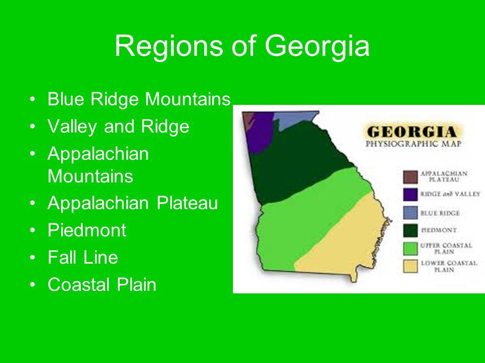 Regions of Georgia Blue Ridge Mountains Valley and Ridge Appalachian Mountains Appalachian Plateau Piedmont Fall Line Coastal Plain