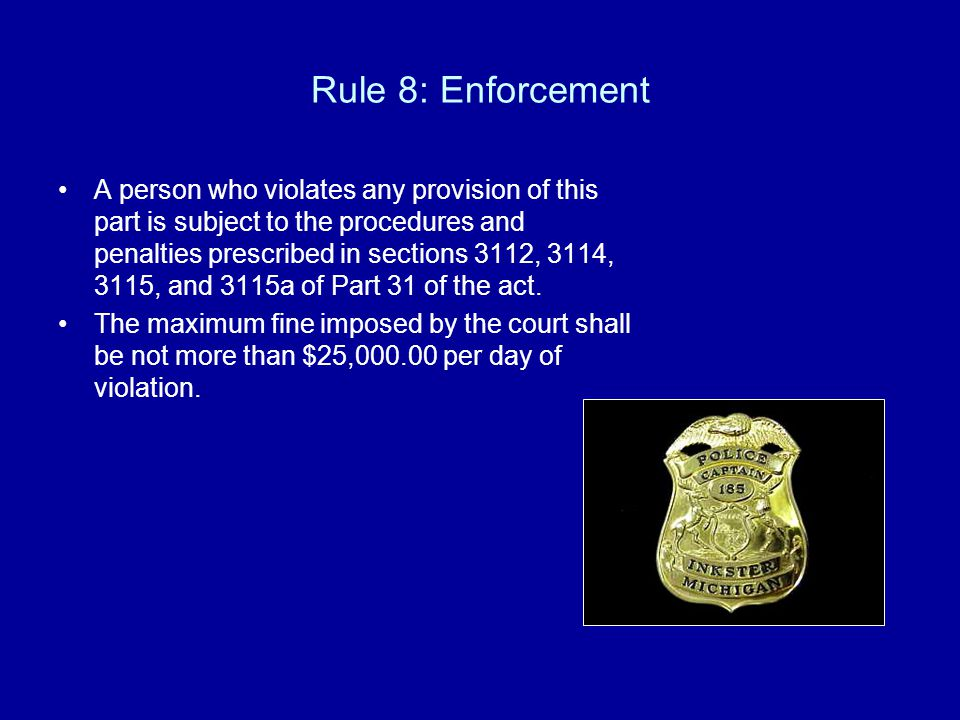 Rule 8: Enforcement A person who violates any provision of this part is subject to the procedures and penalties prescribed in sections 3112, 3114, 3115, and 3115a of Part 31 of the act.