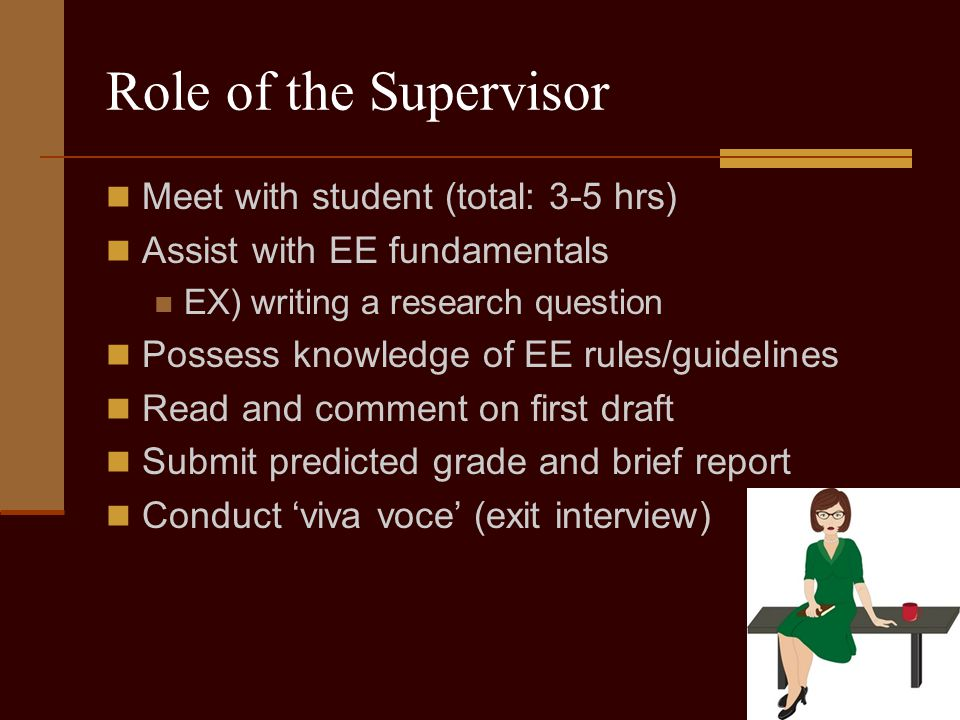 Role of the Supervisor Meet with student (total: 3-5 hrs) Assist with EE fundamentals EX) writing a research question Possess knowledge of EE rules/guidelines Read and comment on first draft Submit predicted grade and brief report Conduct 'viva voce' (exit interview)
