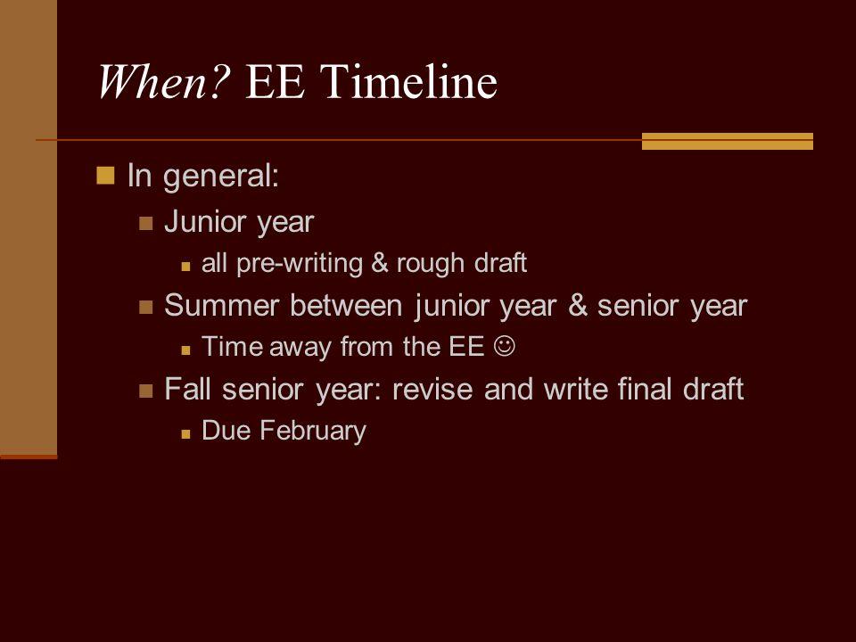 When? EE Timeline In general: Junior year all pre-writing & rough draft Summer between junior year & senior year Time away from the EE Fall senior yea