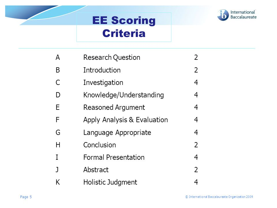 © International Baccalaureate Organization 2009 Page 5 EE Scoring Criteria A Research Question2 BIntroduction2 CInvestigation4 DKnowledge/Understanding4 EReasoned Argument4 FApply Analysis & Evaluation4 GLanguage Appropriate4 HConclusion2 IFormal Presentation4 JAbstract2 KHolistic Judgment4