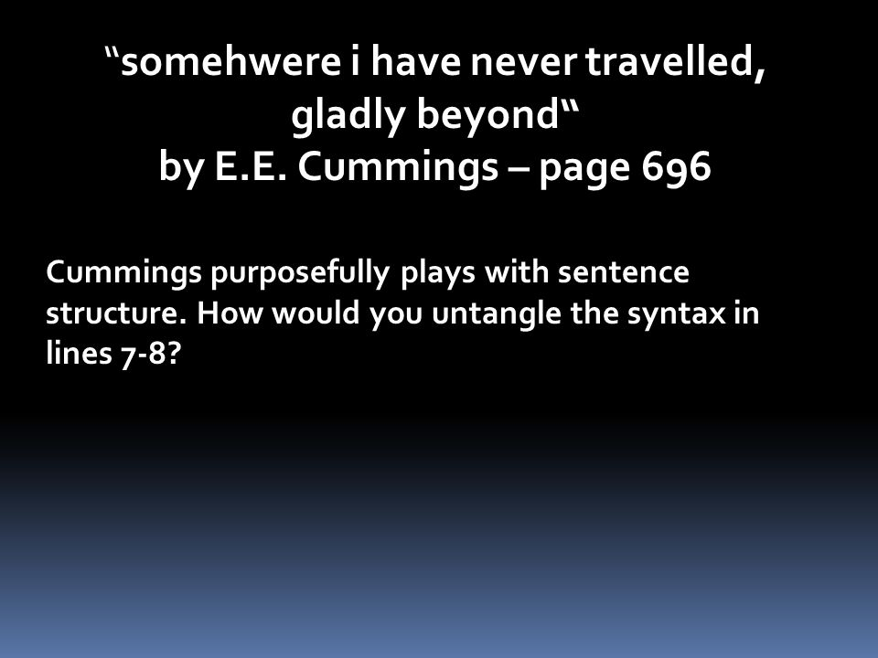 somehwere i have never travelled, gladly beyond by E.E.