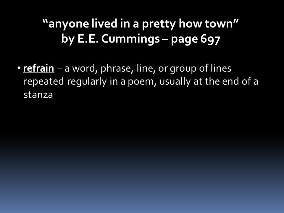 anyone lived in a pretty how town by E.E.