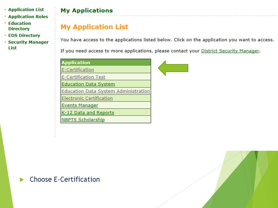  Choose E-Certification