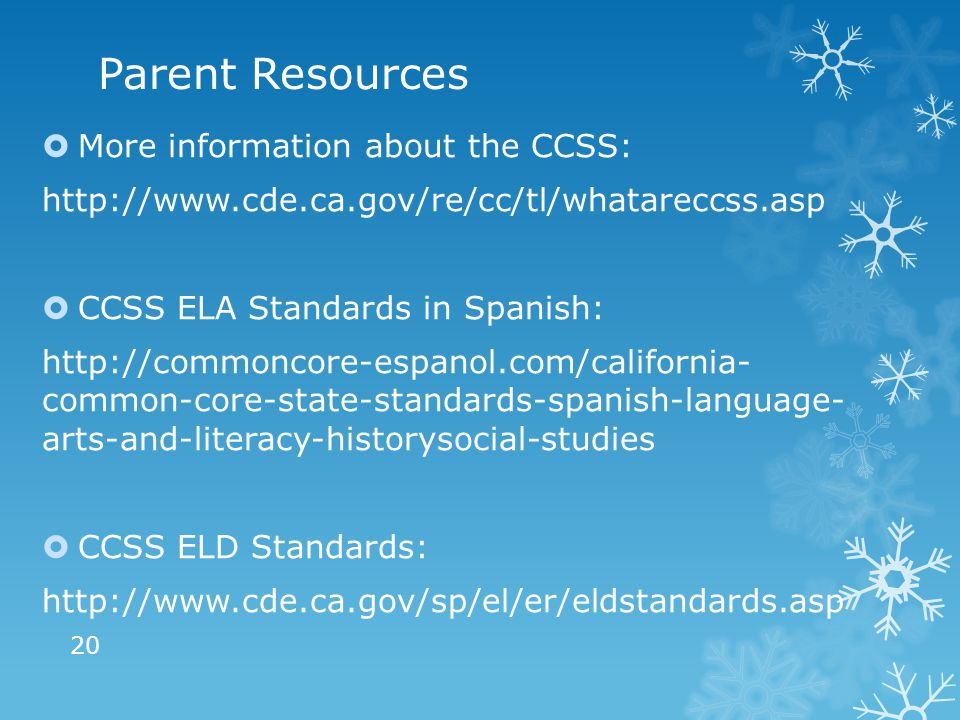 Parent Resources  More information about the CCSS: http://www.cde.ca.gov/re/cc/tl/whatareccss.asp  CCSS ELA Standards in Spanish: http://commoncore-espanol.com/california- common-core-state-standards-spanish-language- arts-and-literacy-historysocial-studies  CCSS ELD Standards: http://www.cde.ca.gov/sp/el/er/eldstandards.asp 20