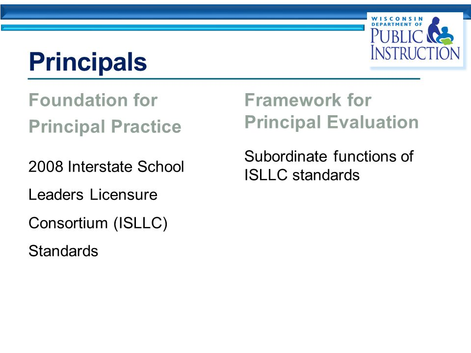 Principals Foundation for Principal Practice 2008 Interstate School Leaders Licensure Consortium (ISLLC) Standards Framework for Principal Evaluation Subordinate functions of ISLLC standards
