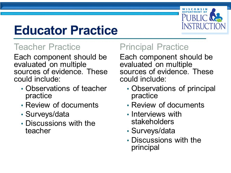 Educator Practice Teacher Practice Each component should be evaluated on multiple sources of evidence.