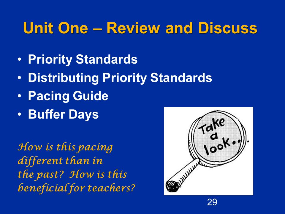 Unit One – Review and Discuss Priority Standards Distributing Priority Standards Pacing Guide Buffer Days How is this pacing different than in the past.