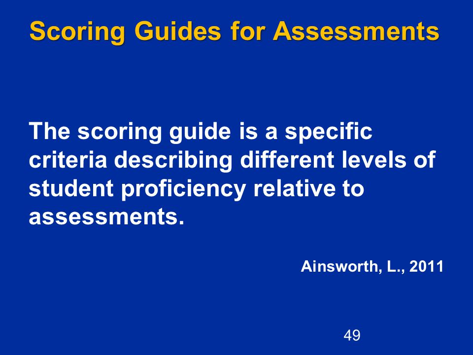 Scoring Guides for Assessments The scoring guide is a specific criteria describing different levels of student proficiency relative to assessments.
