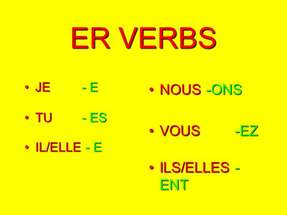 ER VERBS JEJE- E TUTU- ES IL/ELLEIL/ELLE - E NOUS-ONSNOUS-ONS VOUS-EZVOUS-EZ ILS/ELLES- ENTILS/ELLES- ENT