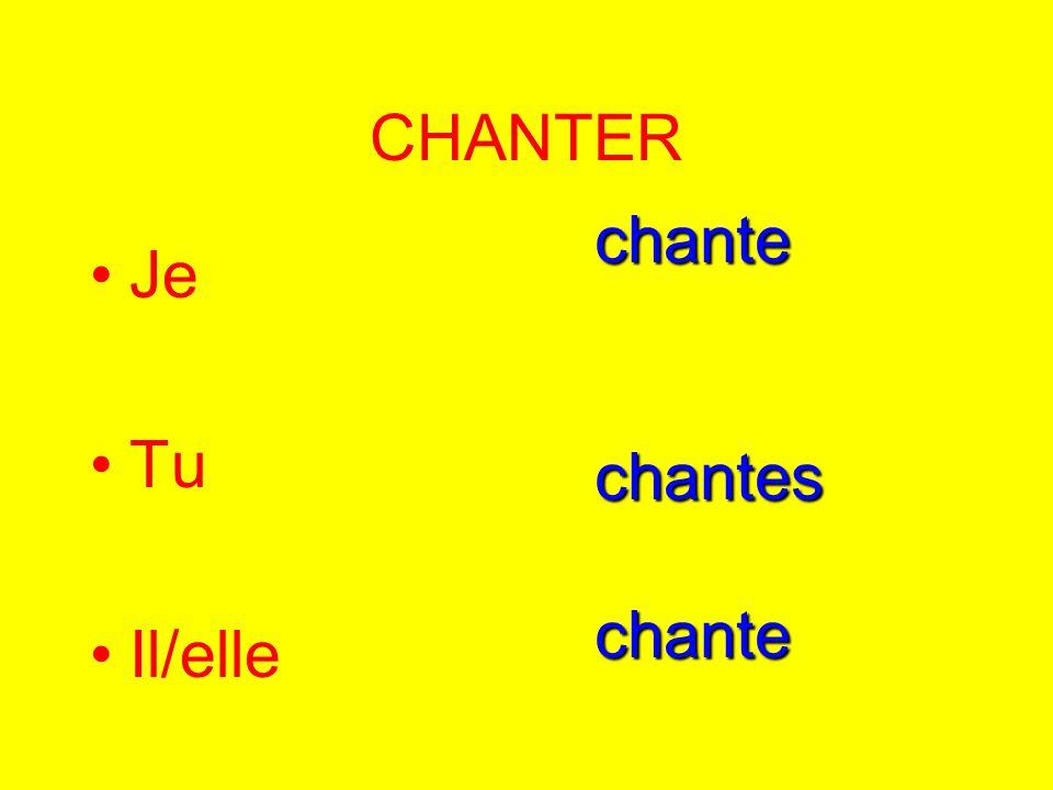CHANTER Je Tu Il/elle chantechanteschante