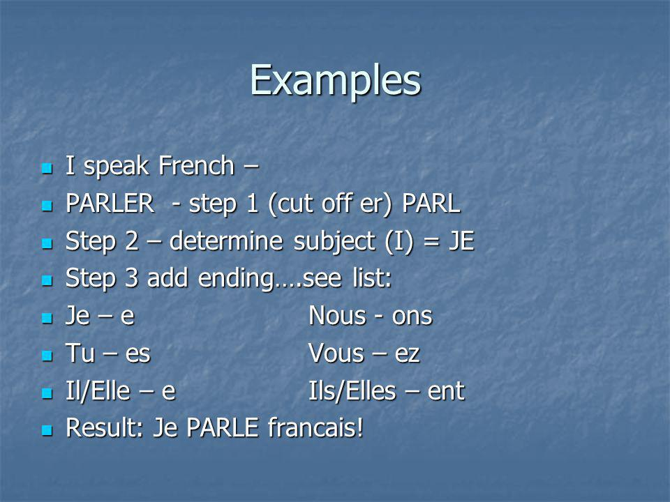 Examples I speak French – I speak French – PARLER - step 1 (cut off er) PARL PARLER - step 1 (cut off er) PARL Step 2 – determine subject (I) = JE Step 2 – determine subject (I) = JE Step 3 add ending….see list: Step 3 add ending….see list: Je – eNous - ons Je – eNous - ons Tu – esVous – ez Tu – esVous – ez Il/Elle – e Ils/Elles – ent Il/Elle – e Ils/Elles – ent Result: Je PARLE francais.