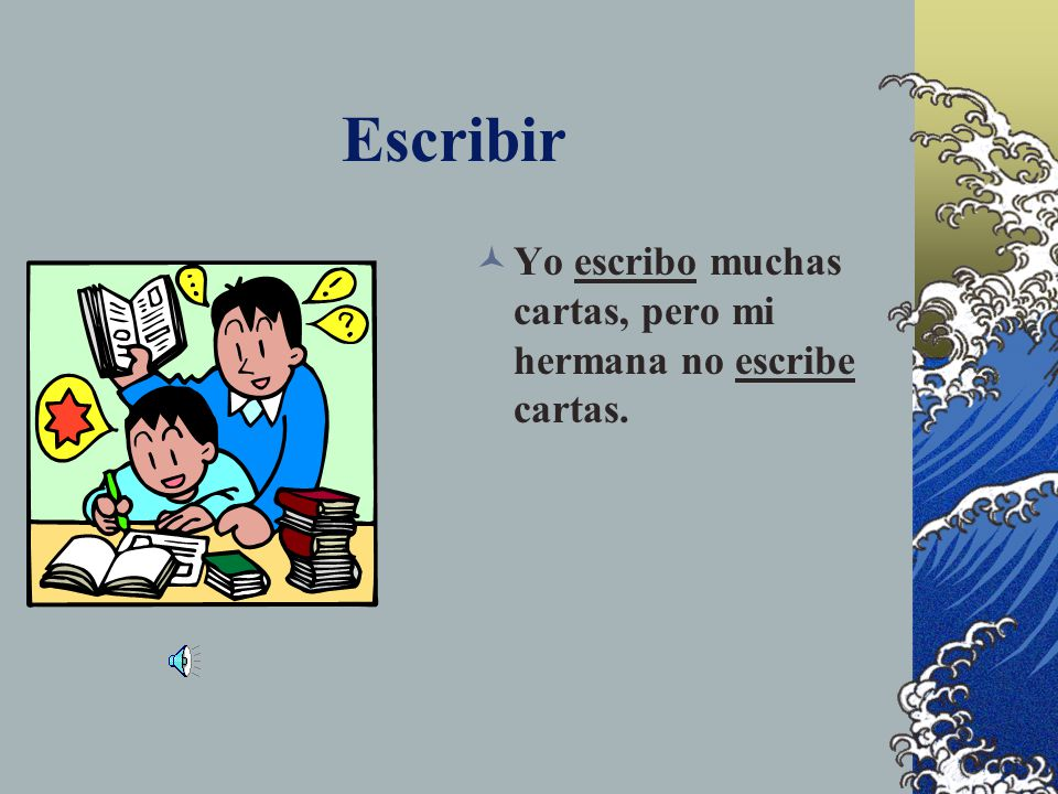 Let's Practice > ESCRIBIR Yo _______ muchas cartas, pero mi hermana no _______ cartas.
