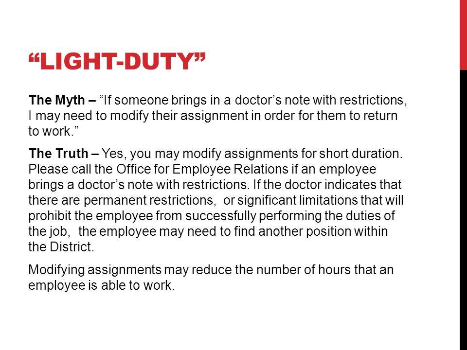 Light Duty Doctors Note