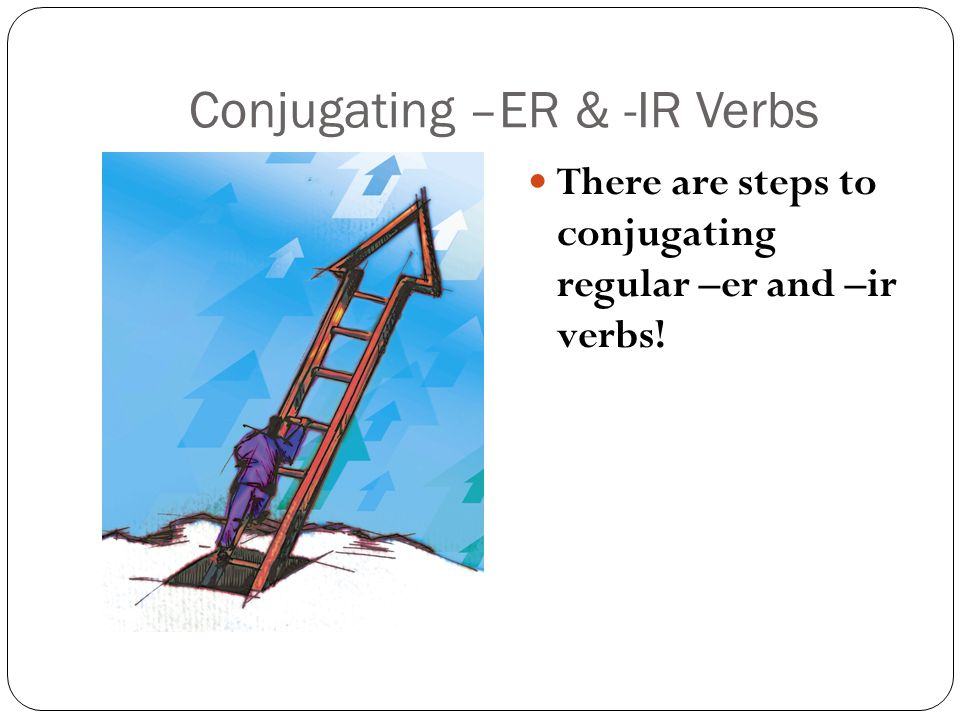 Conjugating –ER & -IR Verbs There are steps to conjugating regular –er and –ir verbs!
