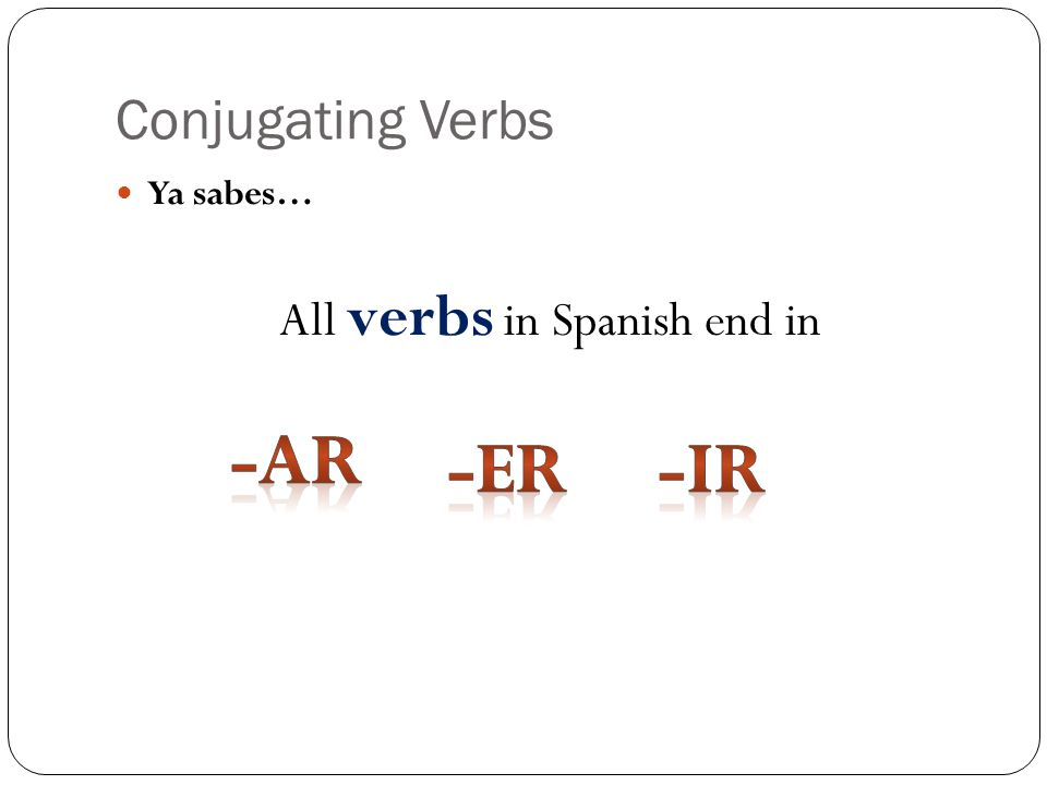 Conjugating Verbs Ya sabes… All verbs in Spanish end in