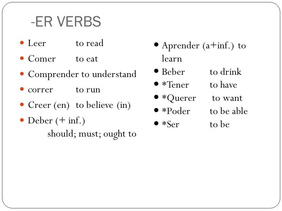 Beber (to drink)