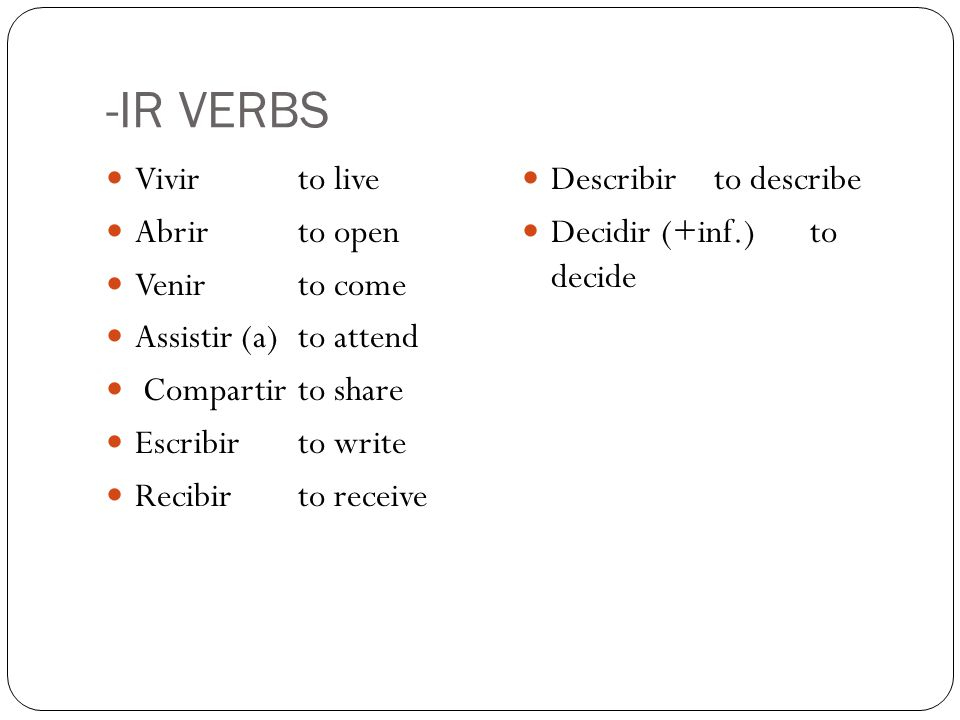 -IR VERBS Vivirto live Abrirto open Venirto come Assistir (a)to attend Compartirto share Escribirto write Recibirto receive Describirto describe Decidir (+inf.)to decide