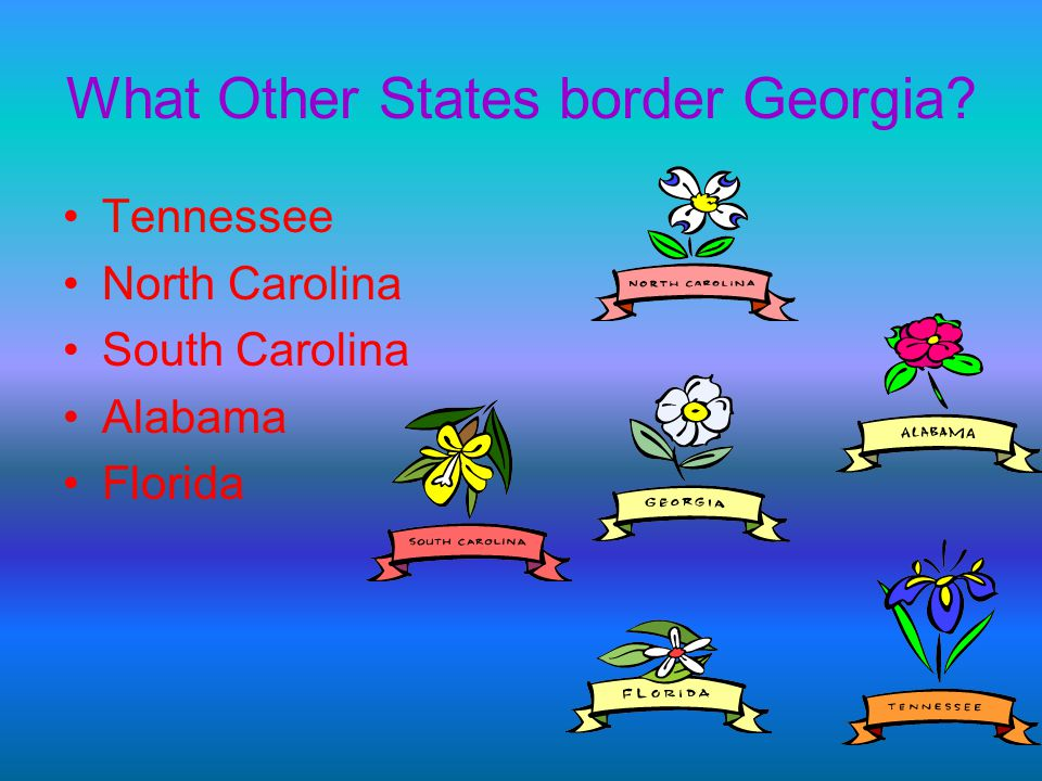 What Other States border Georgia? Tennessee North Carolina South Carolina Alabama Florida